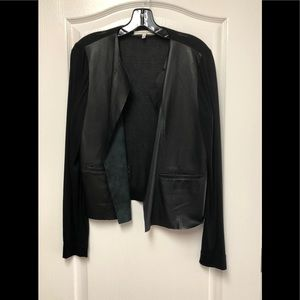 Burning torch leather open cardigan